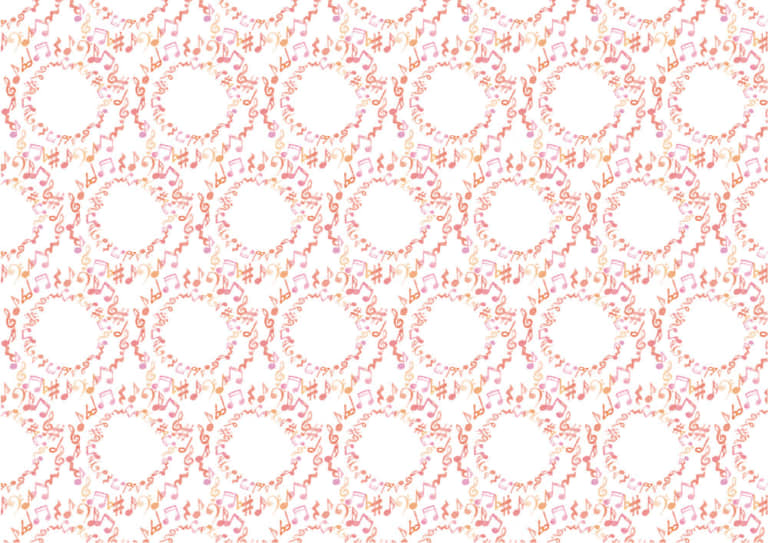 水彩 音符 ピンク色 背景 イラスト 無料