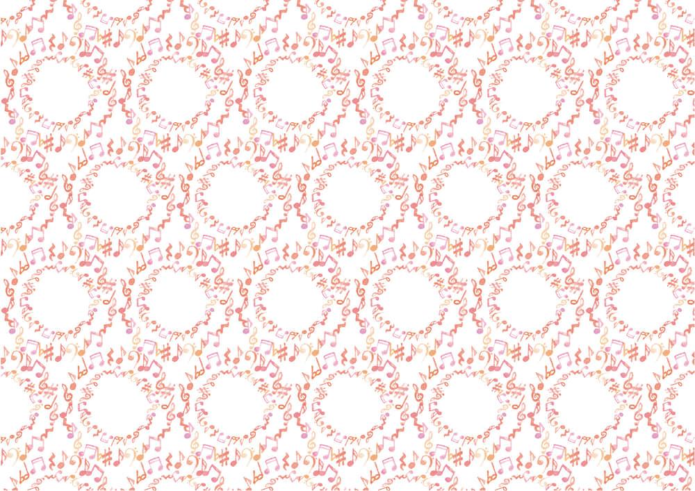 手書きイラスト無料|水彩 音符 ピンク色 背景