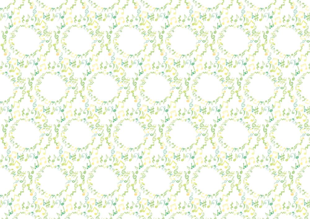 手書きイラスト無料|水彩 音符 黄緑色 背景