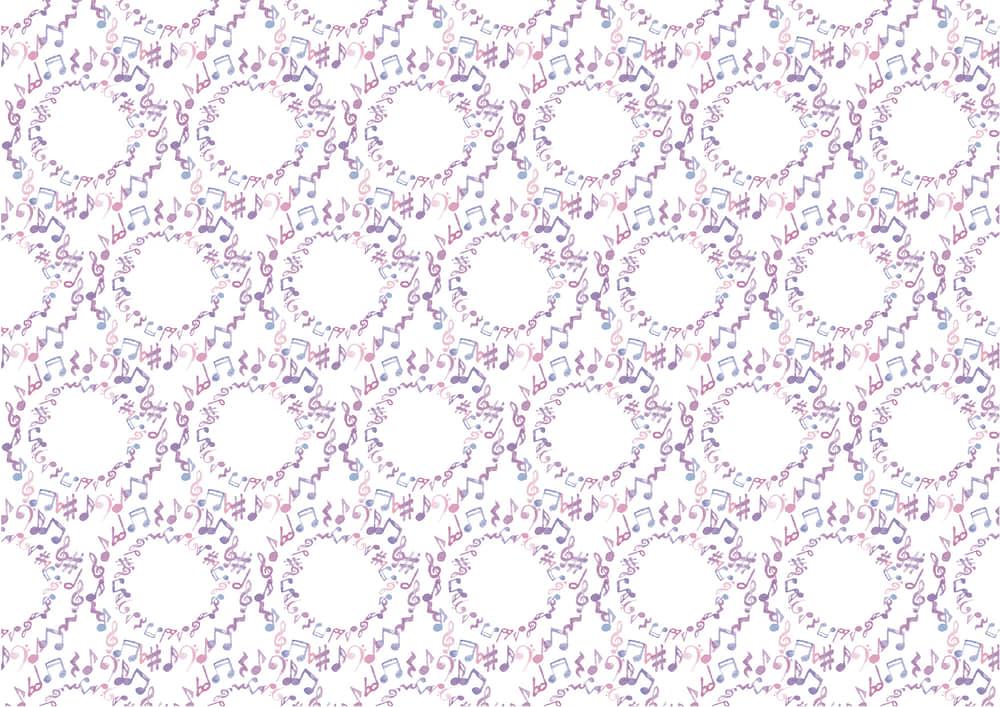 おしゃれなイラスト無料|水彩 音符 紫色 背景