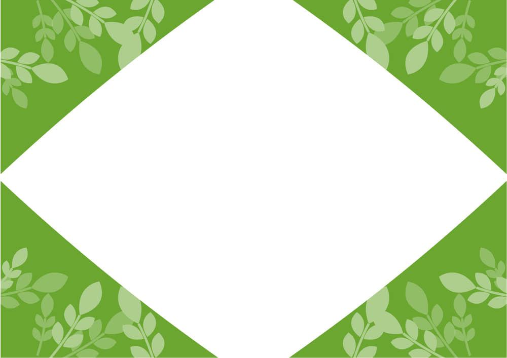 可愛いイラスト無料|葉っぱ フレーム 緑色