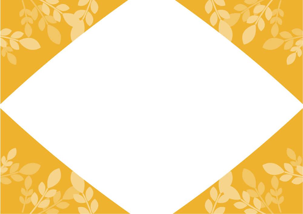 可愛いイラスト無料|葉っぱ フレーム オレンジ色