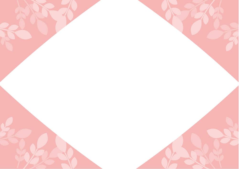 可愛いイラスト無料|葉っぱ フレーム ピンク色