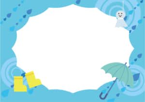 梅雨 傘 てるてる坊主 雨靴 フレーム 水色ver イラスト 無料