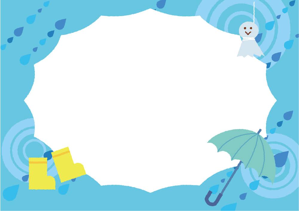 可愛いイラスト無料|梅雨 傘 てるてる坊主 雨靴 フレーム 水色ver