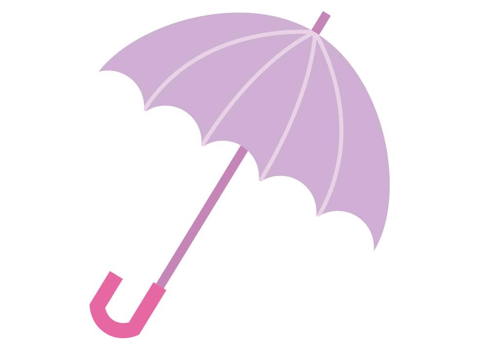 可愛いイラスト無料|梅雨 傘 ピンク色