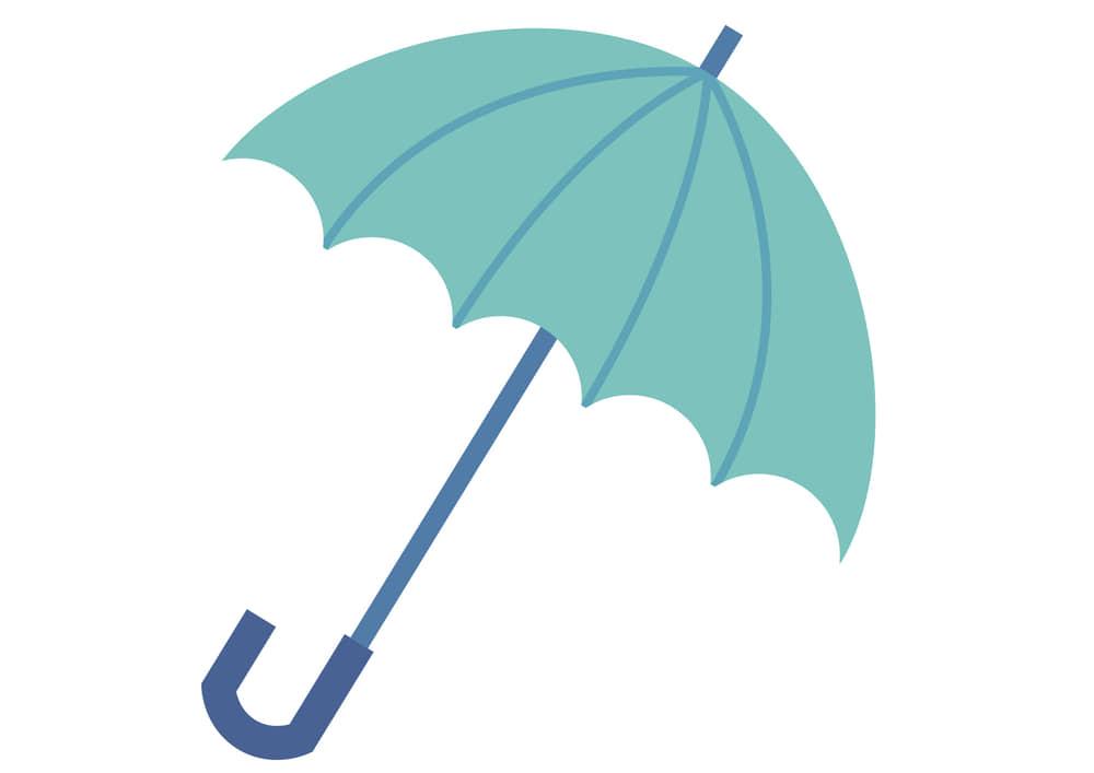 可愛いイラスト無料|梅雨 傘 青色