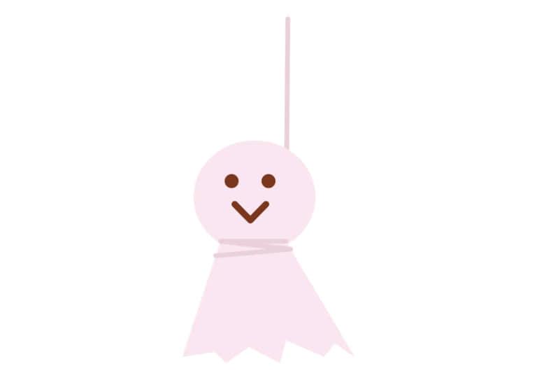 梅雨 てるてる坊主 ピンク色 イラスト 無料
