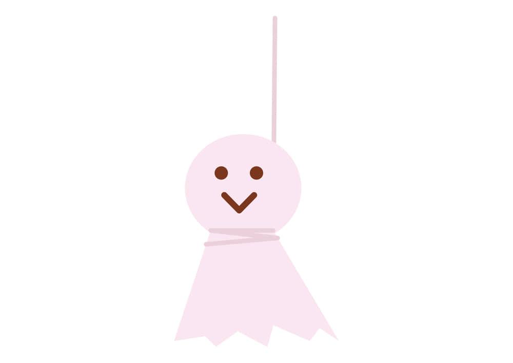 可愛いイラスト無料|梅雨 てるてる坊主 ピンク色