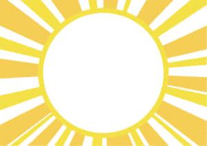 放射線 黄色 フレーム イラスト 無料