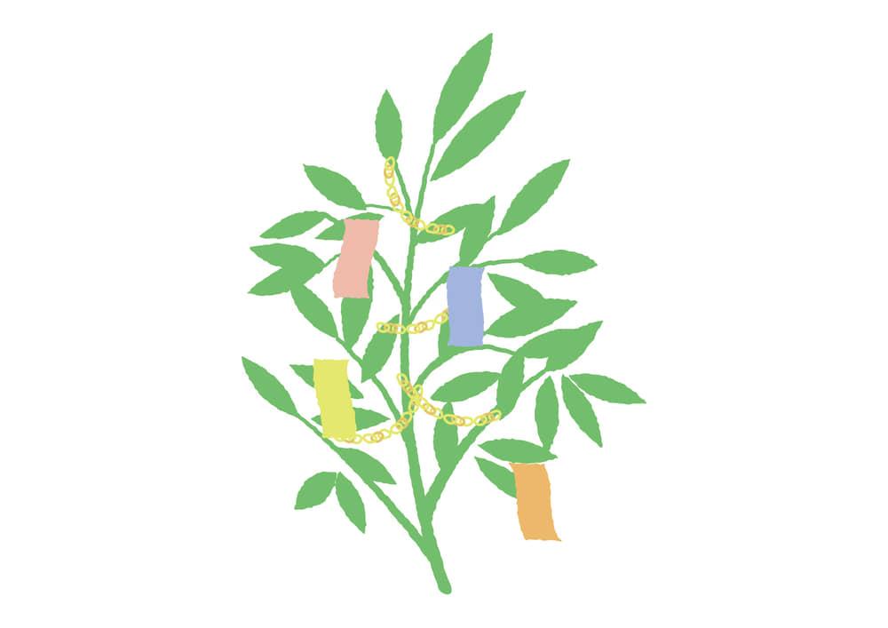 可愛いイラスト無料|七夕 笹の葉