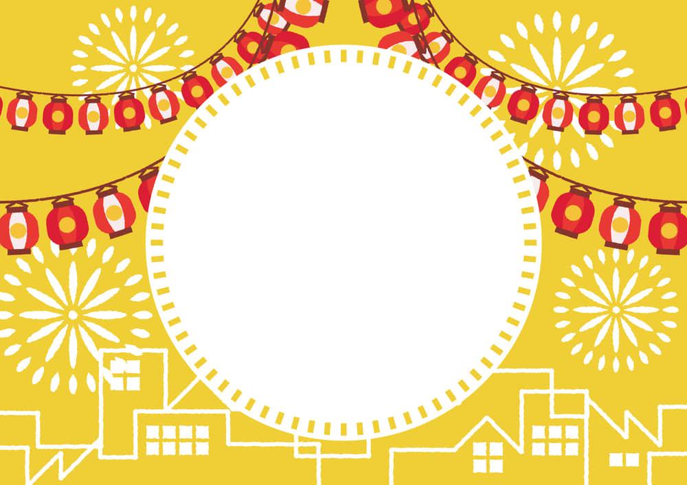 シンプルイラスト無料|夏祭り ちょうちん 町並み 花火 黄色 フレーム