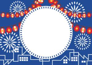 夏祭り ちょうちん 町並み 花火 青色 フレーム イラスト 無料