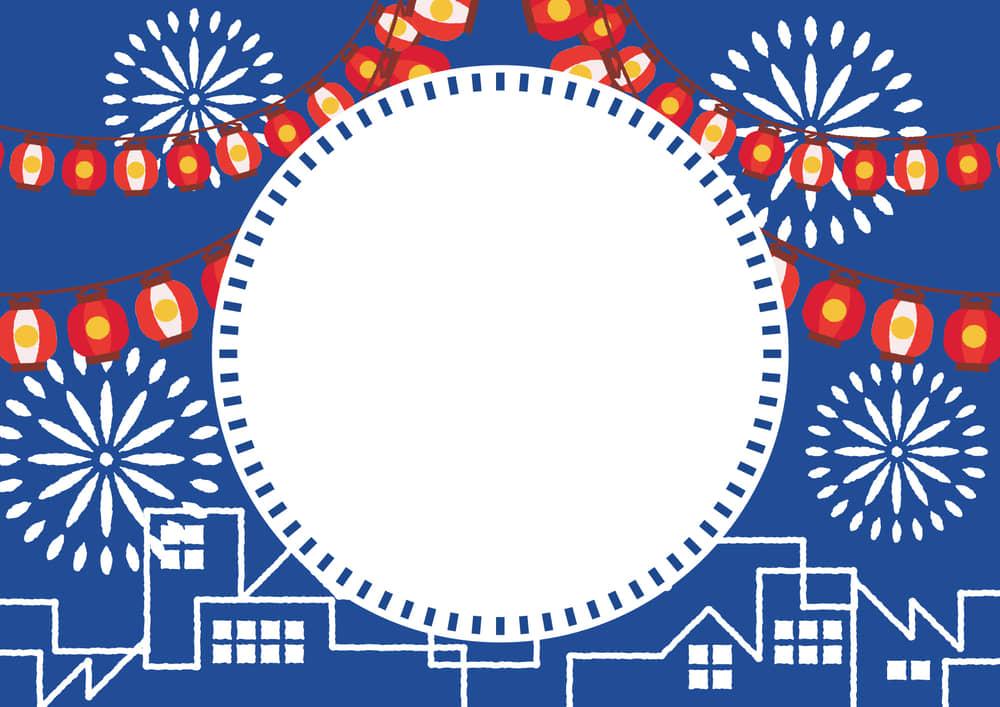 シンプルイラスト無料|夏祭り ちょうちん 町並み 花火 青色 フレーム