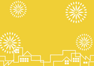 夏祭り 町並み 花火 黄色 背景 イラスト 無料