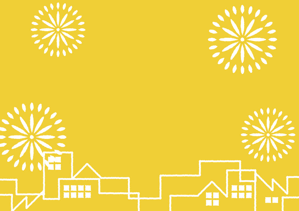 シンプルイラスト|夏祭り 町並み 花火 黄色 背景