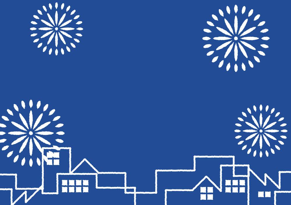 シンプルイラスト無料|夏祭り 町並み 花火 青色 背景