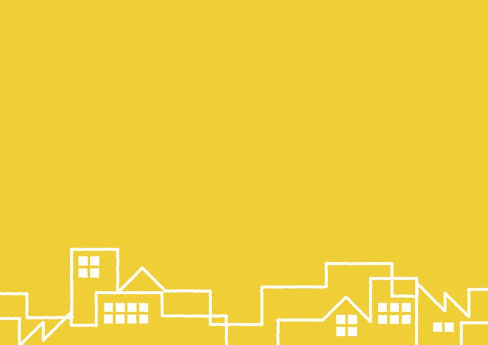 シンプルイラスト無料|町並み 黄色 背景