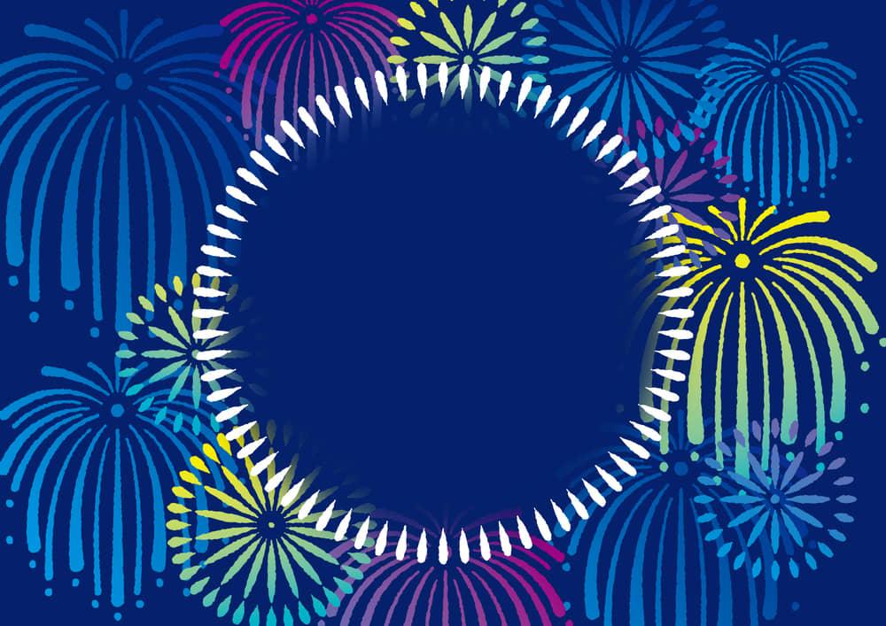 シンプルイラスト無料|花火 フレーム 青色