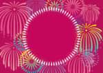 花火 フレーム ピンク色 イラスト 無料