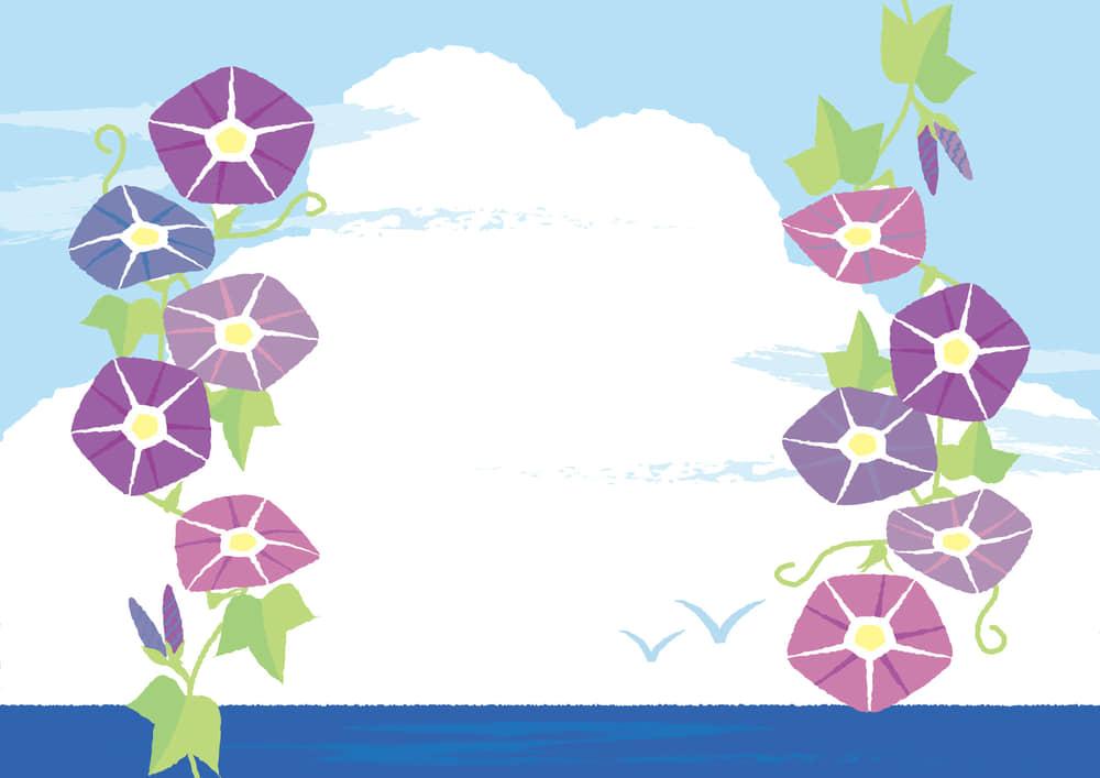 シンプルイラスト無料|朝顔 ピンク色 入道雲 背景