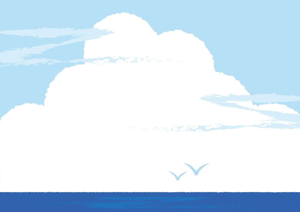 シンプルイラスト無料|朝顔 入道雲 背景