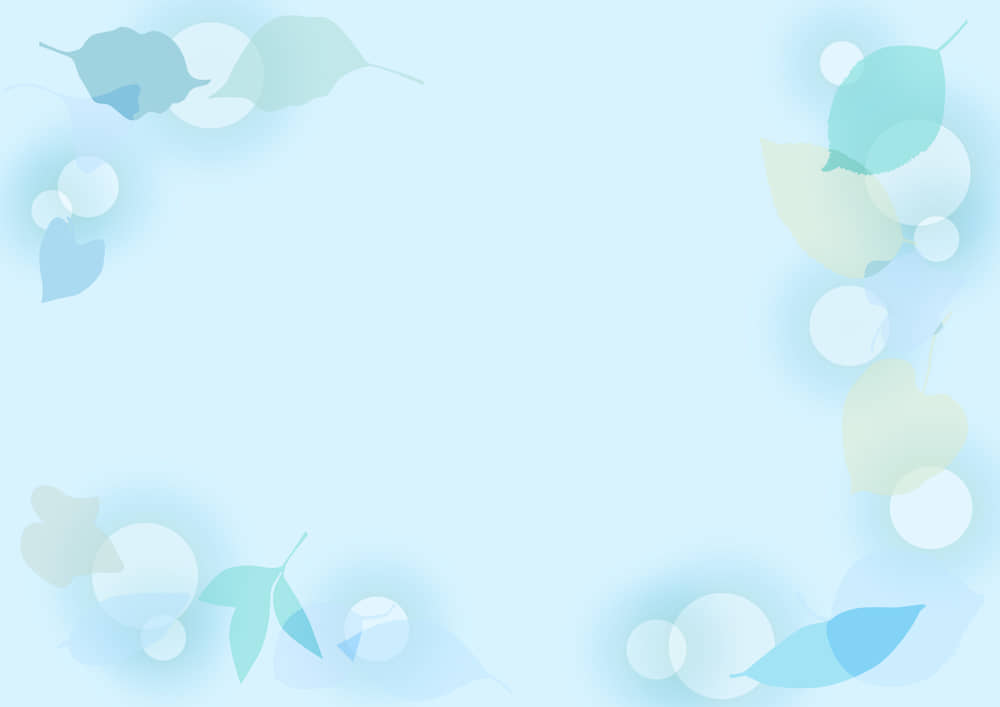 可愛いイラスト無料|背景 葉っぱの背景 青色