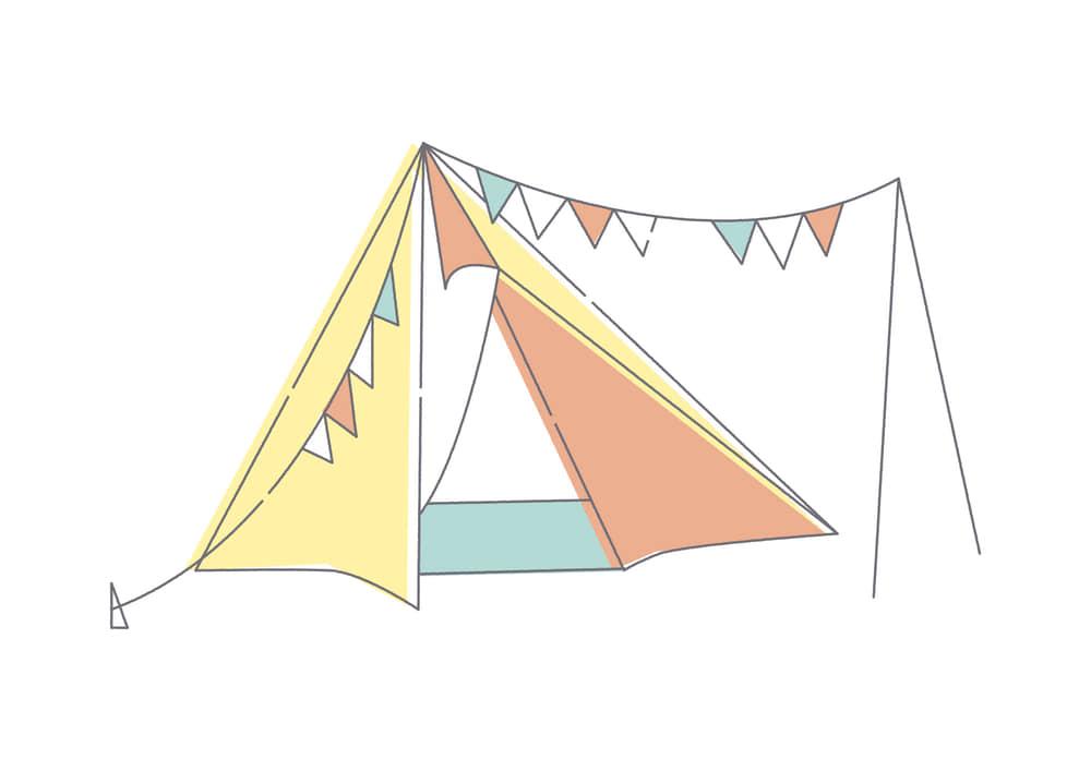 手書きイラスト無料|テント フラッグ