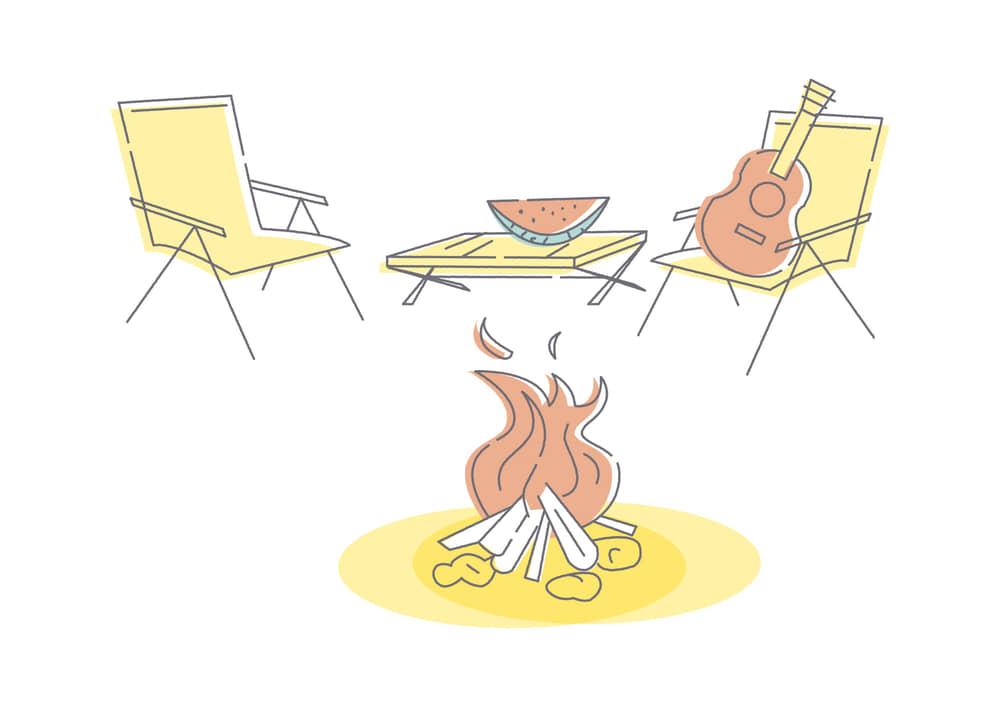 手書きイラスト無料|焚き火 椅子 ギター