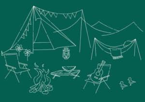 キャンプ 黒板 線画 イラスト 無料