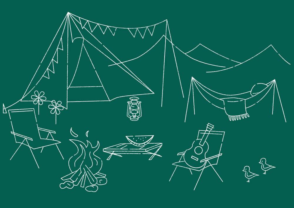 おしゃれなイラスト|キャンプ 黒板 線画