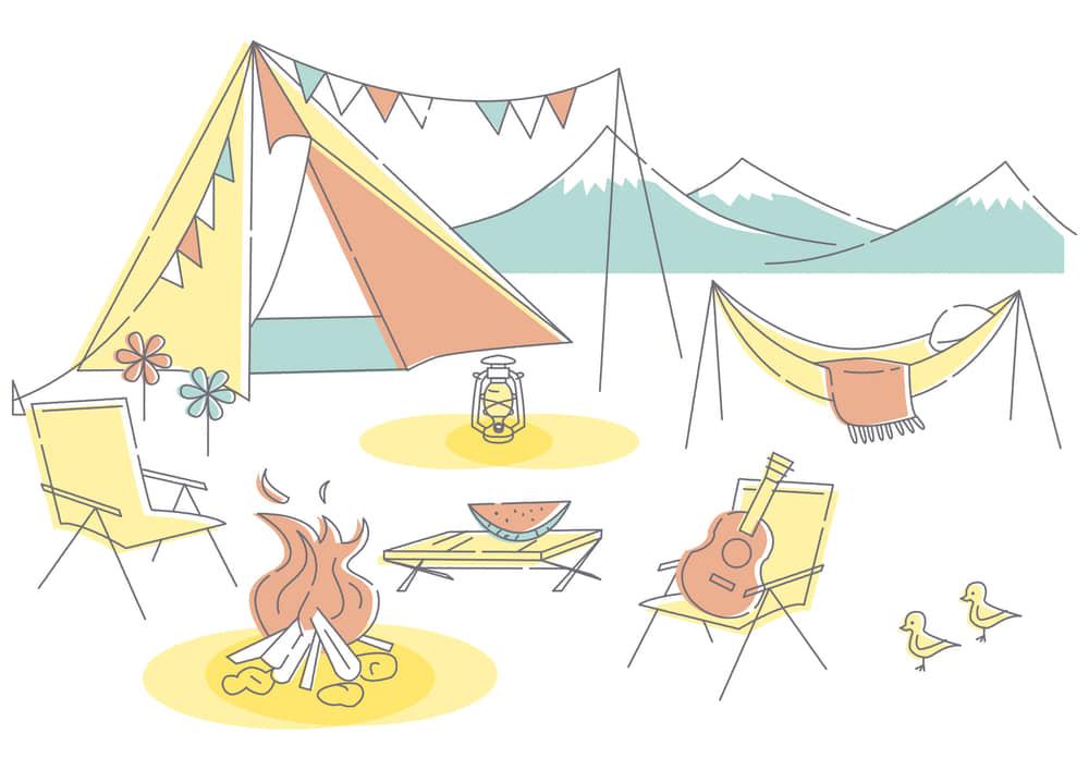 手書きイラスト無料|キャンプ セット