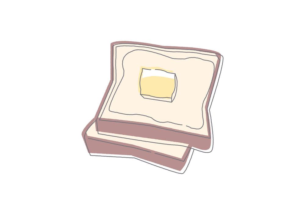 手書きイラスト無料|食パン トースト