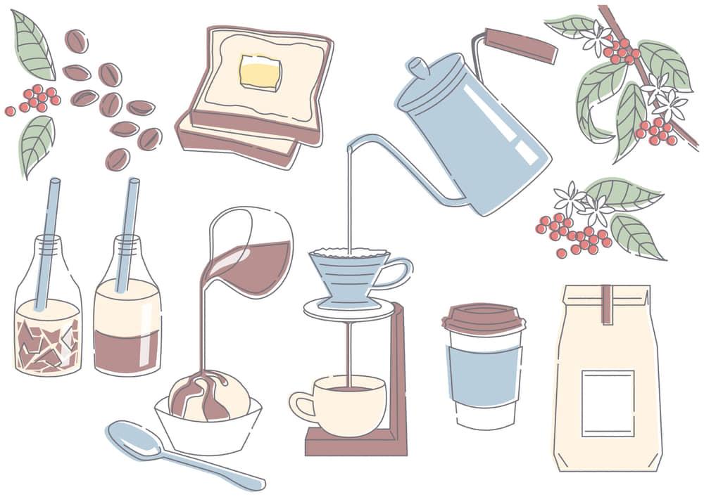 おしゃれなイラスト|カフェ コーヒー