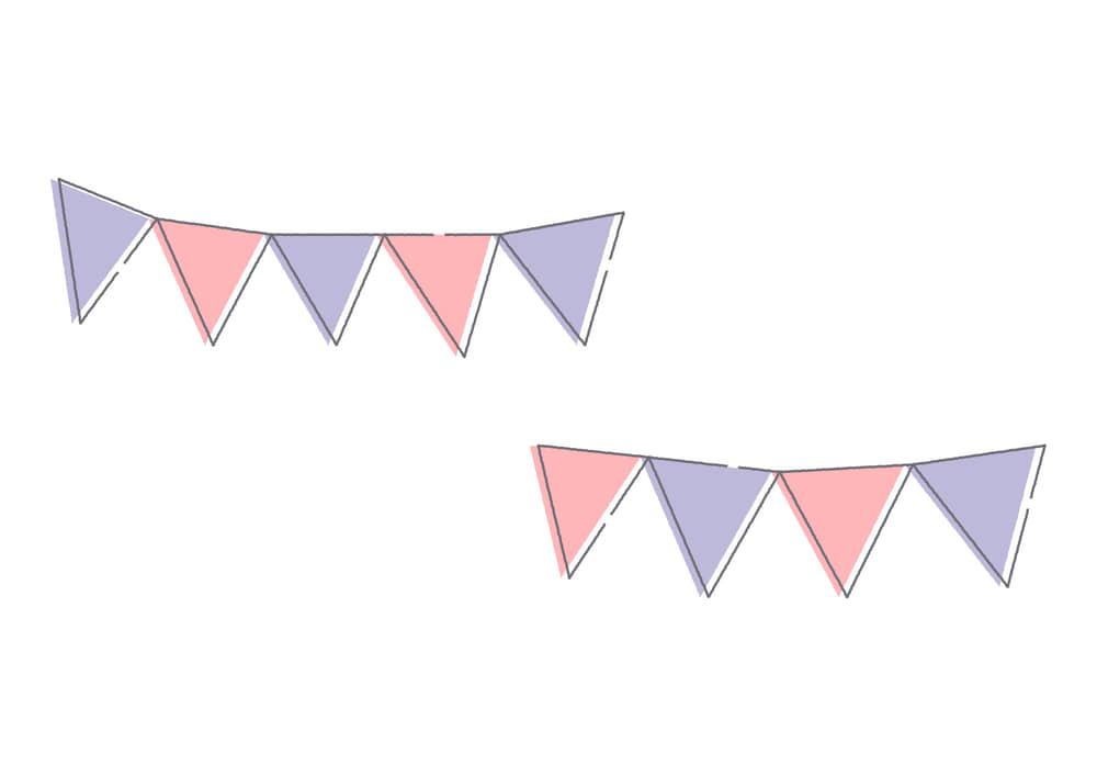 可愛いイラスト無料|フラッグ ピンク色と紫色