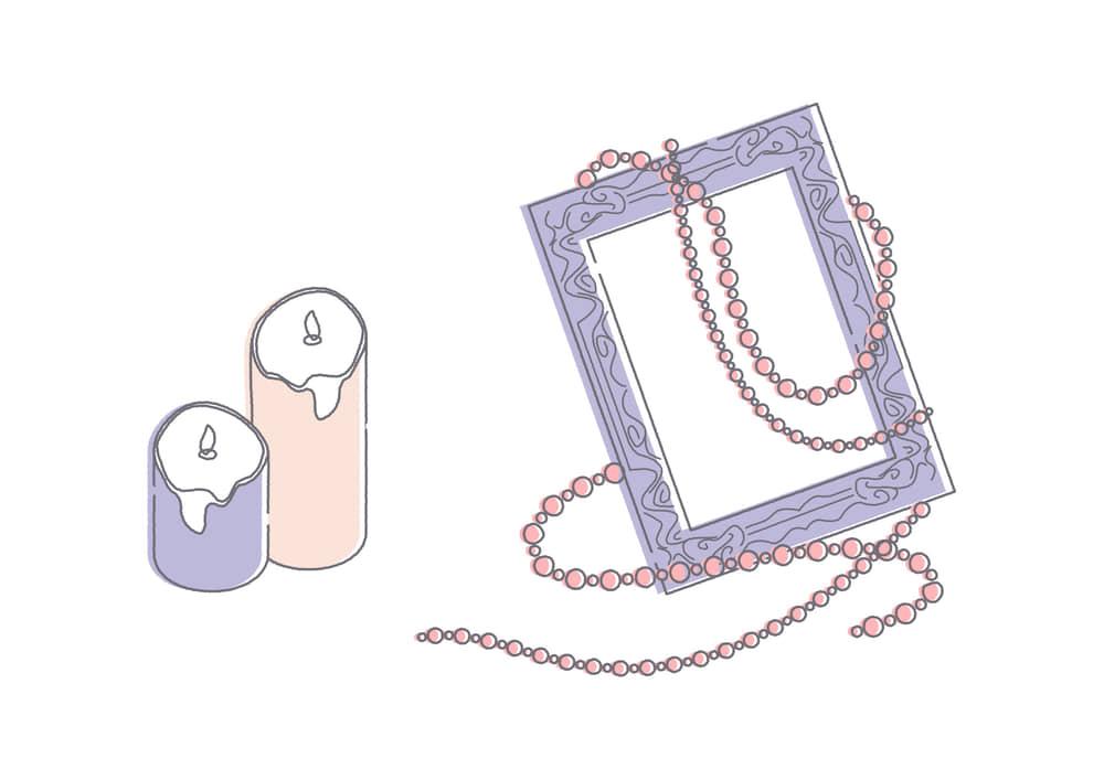 可愛いイラスト|蝋燭 額縁 ネックレス