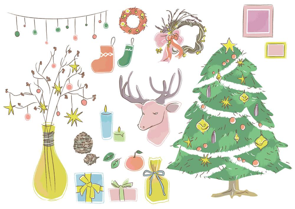 おしゃれなイラスト無料|クリスマス グッズ セット