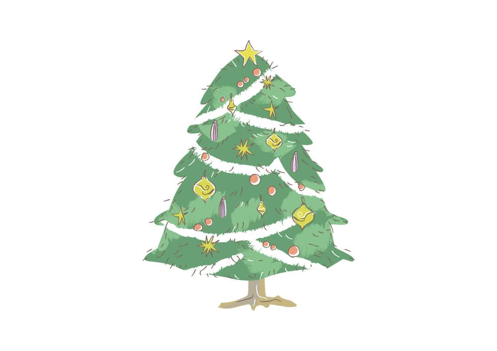 おしゃれなイラスト無料|クリスマスツリー 手書き