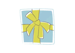 クリスマス プレゼント 水色 手書き イラスト 無料