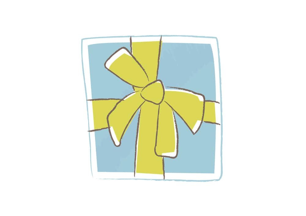 おしゃれなイラスト無料|クリスマス プレゼント 水色 手書き