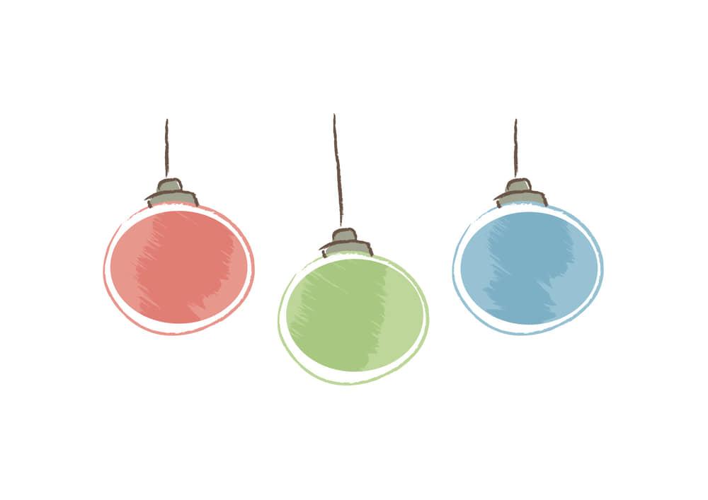 おしゃれなイラスト無料|クリスマス 球体の飾り
