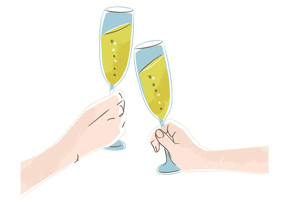 手書きイラスト無料|クリスマス シャンパン 乾杯
