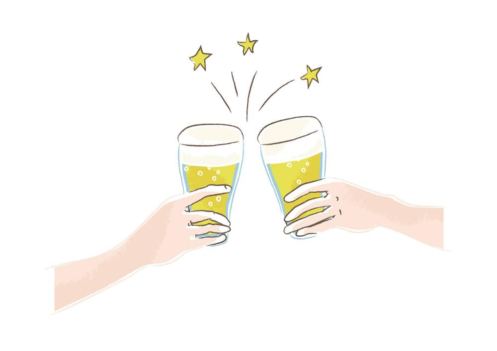 手書きイラスト無料|ビール 乾杯