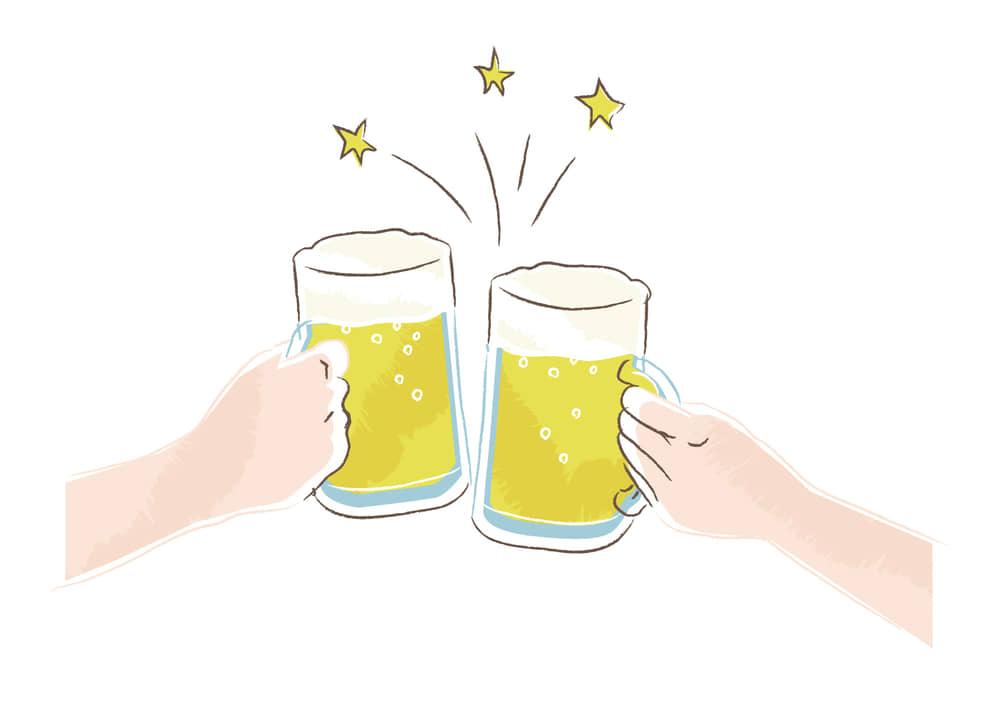 おしゃれなイラスト無料|ビールジョッキ 乾杯