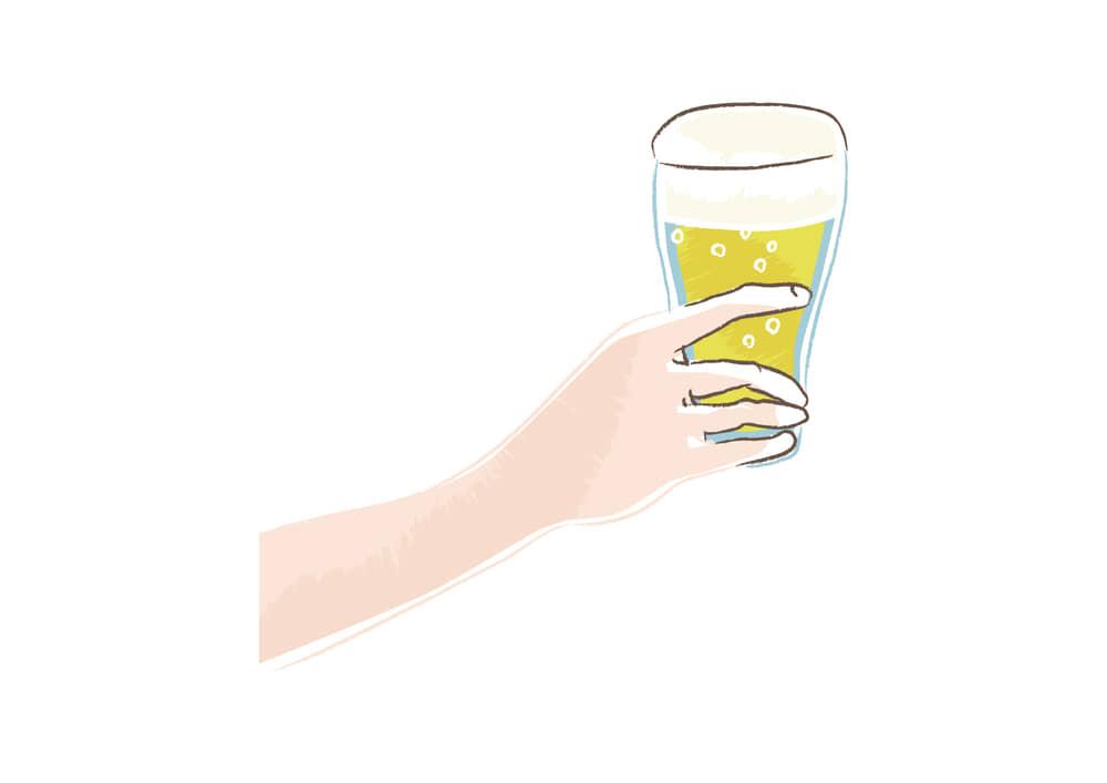おしゃれなイラスト無料|ビールを持つ手 左