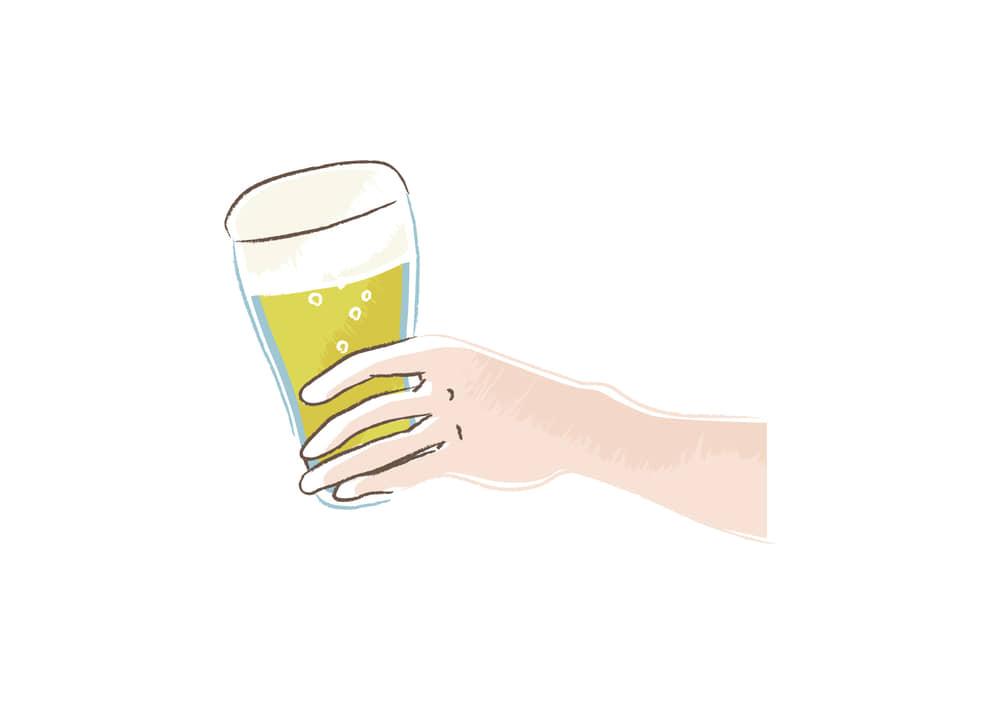 手書きイラスト無料|ビールを持つ手 右