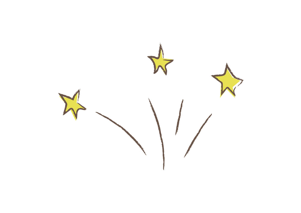 おしゃれなイラスト無料|星 飛び出す