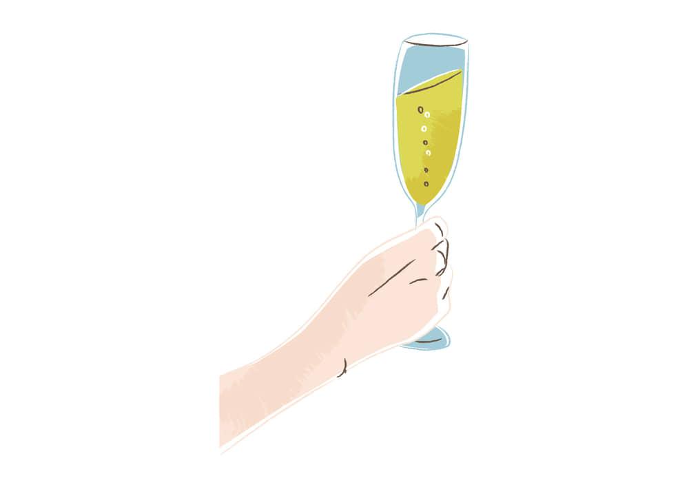 手書きイラスト無料|シャンパンを持つ手 左