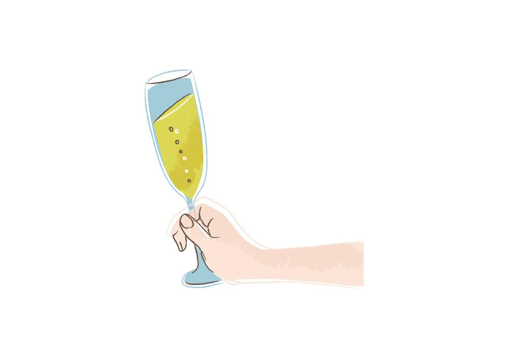 手書きイラスト無料|シャンパンを持つ手 右