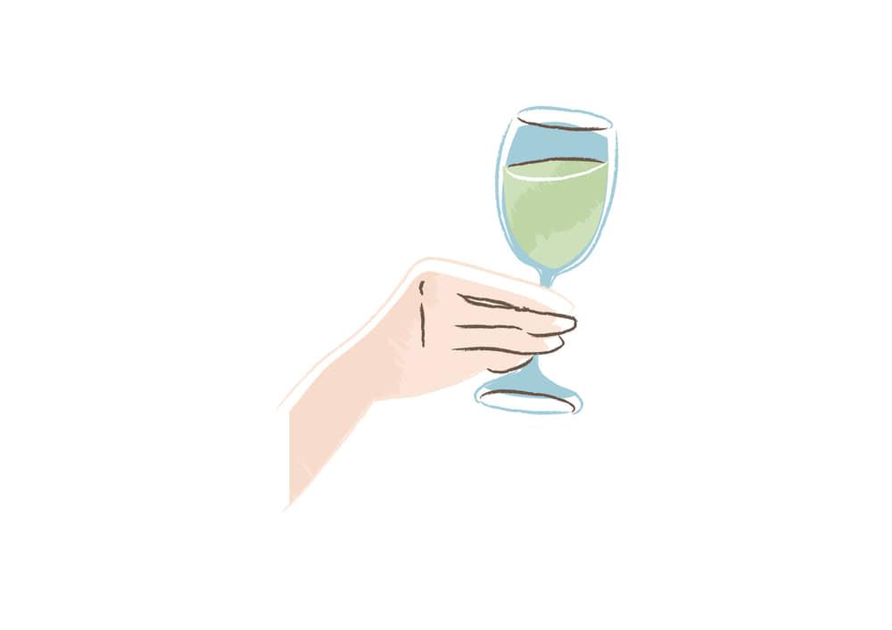 手書きイラスト無料|白ワインを持つ手 右